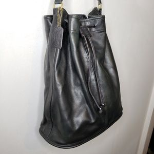Vintage Coach Black Leather Bucket Bag